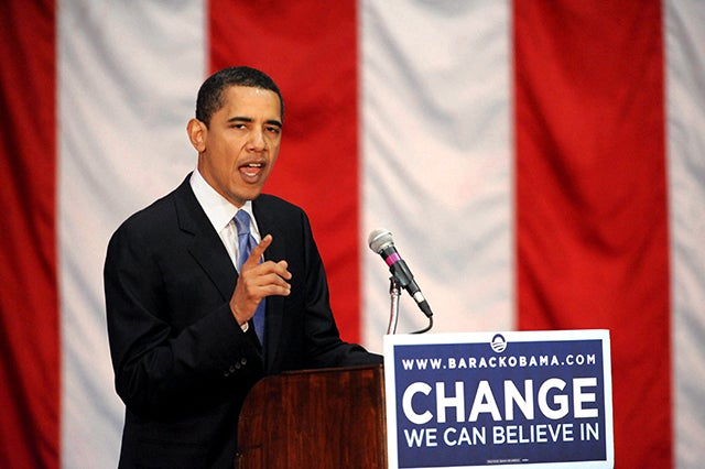 Then-Sen. Barack Obama (D-Ill.) campaigning for his presidential campaign in 2008. (Photo: Newscom)