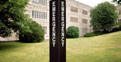 An emergency call box outside Norris Hall on the campus of Virginia Tech. (Photo: Chip Somodevilla/Getty Images)