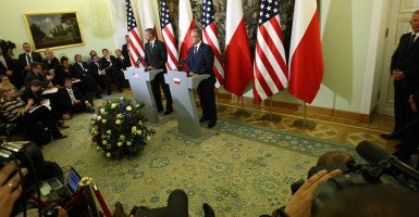 President Barack Obama and President of Poland, Bronislaw Komorowski, during Obama's visit to Poland. (Photo: Michal Fludra/NurPhoto/ZUMAPRESS.com)