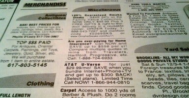 Newspaper classifieds (Photo: Ian Lamont/Flickr)
