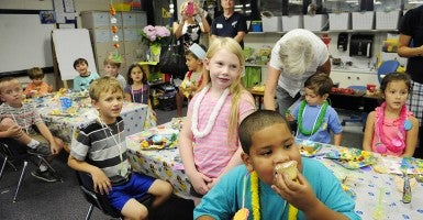 Kindergartners celebrate a successful school year at Hammond Hill Elementary School's end of the school year class party in North Augusta, South Carolina. (Photo: Sara Caldwell/The Augusta Chronicle/ZUMAPRESS.com)