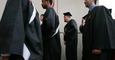 Students from Virginia Tech wait in line to attend their graduation ceremony. (Photo: Scott Olson/Getty Images)