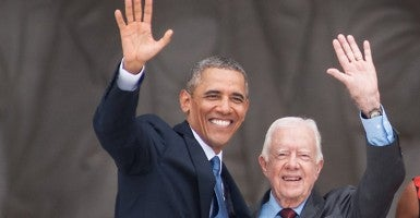 President Barack Obama and former President Jimmy Carter (Photo: Chung/CMT/Newscom).