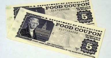 Obsolete U.S. Dept. of Agriculture food coupons in the five dollar denomination circa 1995 (Photo:Levine/Newscom).