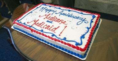 A cake is seen during an event celebrating the 49th anniversary of Medicare and Medicaid, on Capitol Hill (Photo: Newscom).