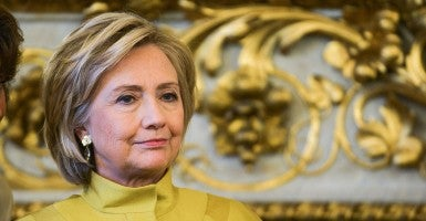 Former US State Secretary Hillary Clinton seen during a reception given at the French Ministry of Foreign Affairs in Paris (Photo: Rabbo/ABACAPRESS/Newscom).