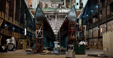 A large section of a U.S. Navy Littoral Combat Ship (LCS) sits in the final assembly area during its construction at Marinette Marine Corp. (Photo: Acker/MCT/Newscom)