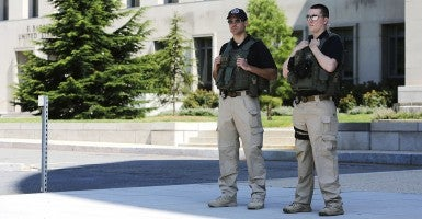 U.S. Federal Marshals patrol outside the U.S. federal courthouse in Washington June 28, 2014. Ahmed Abu Khatallah, the Libyan militia leader suspected in the 2012 attack on the U.S. diplomatic mission in Benghazi that killed four Americans, was in federal custody on Saturday morning, according to the spokesman for the U.S. attorney's office for the District of Columbia (Photo: Earnst/Reuters/Newscom).