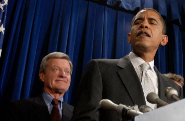 Sen. Mac Baucus (D-MT) and then-Sen. Barack Obama. Photo credit: Mark Murrmann/ZUMAPRESS/Newscom
