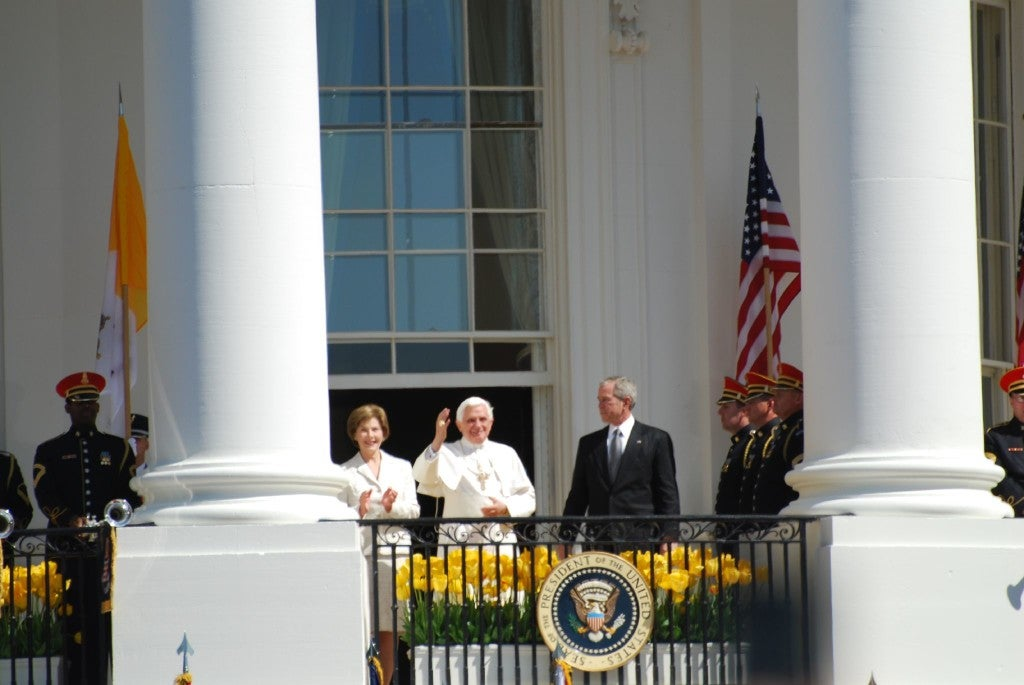 Benedict met with the President at the White House, addressed the presidents of Roman Catholic Colleges and Universities, and held mass at the Nationals Park in Washington, D.C., and Yankee Stadium in New York City. (Photo: John Sonderman/CC BY-NC 2.0)