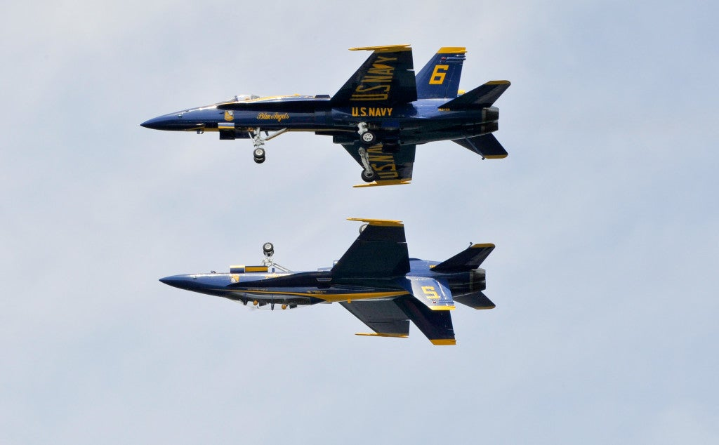 U.S. Navy Blue Angels, Lead Solo Lt. Ryan Chamberlain and Opposing Solo Capt. Jeff Kuss perform the Fortus maneuver at the United States Naval Academy Air Show on May 25,(Photo: Photo: U.S. Navy photo by Mass Communication Specialist 1st Class Andrea Perez/Released)