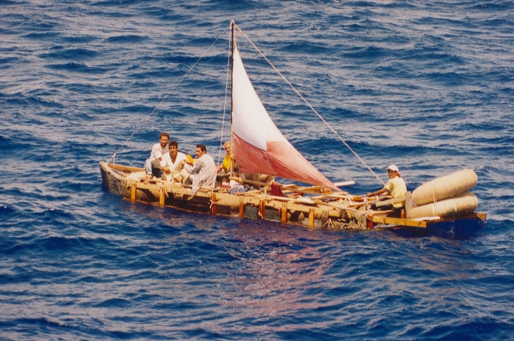 A homemade raft sets sail in 1994. (Photo: U.S. Coast Guard Historian Office/CC By 2.0)