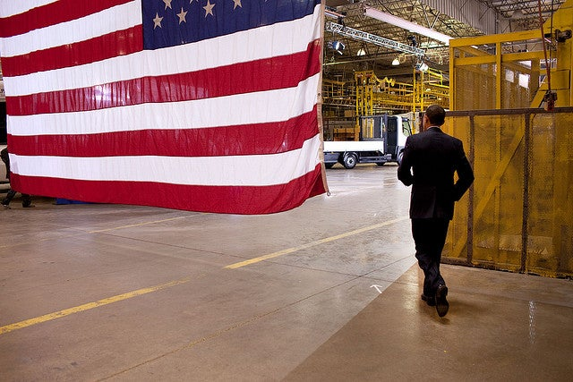 Obama at manufacturing plant