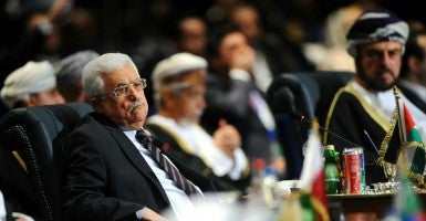President of the Palestinian Authority, Mahmoud Abbas, speaks during the opening session of the Arab Leaders summit. (Photo: STR/EPA/Newscom)