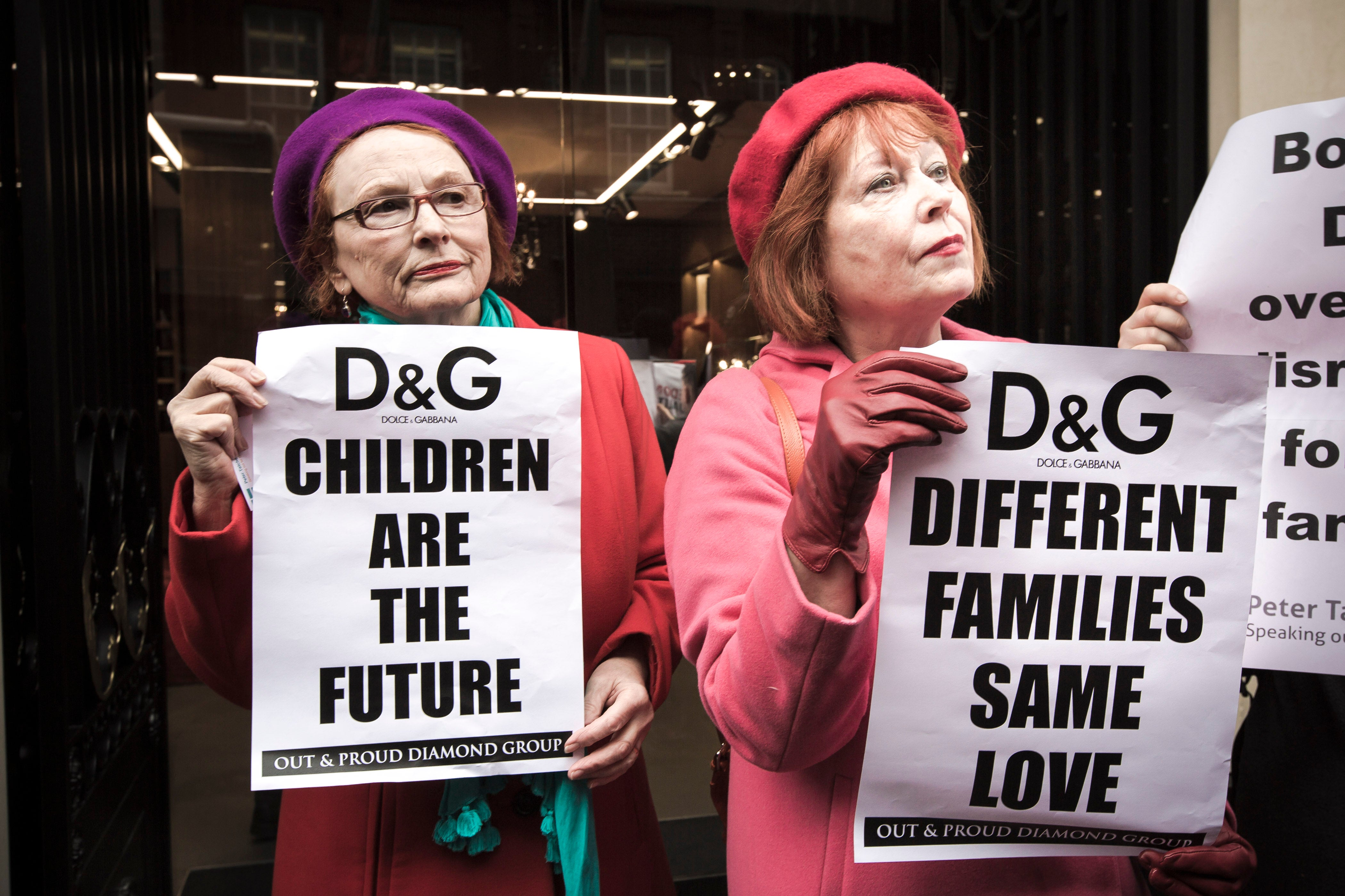 People protesting Dolce and Gabbana. (Photo: Mark Esper/Polaris/Newscom)