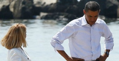 President Obama tours the beach at Port Fourchon in Louisiana. (Photo: Consolidated News Photos/Newscom)
