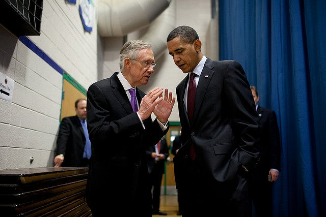Senate Majority Leader Harry Reid and President Obama