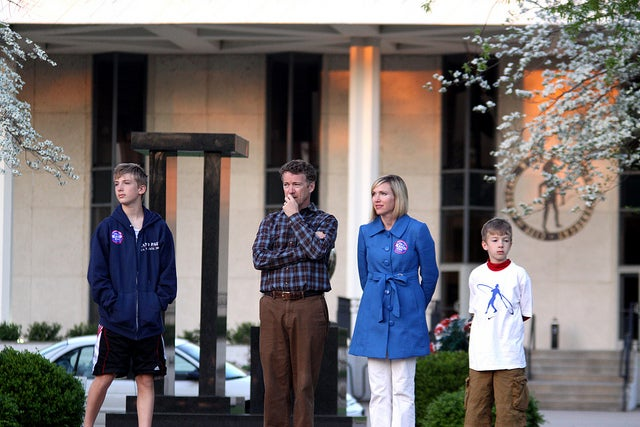 Then-Senate candidate Rand Paul, with his wife, Kelley Paul, and sons Duncan and Robert, at a rally in Paducah, Ky. in 2010. (Photo: Gage Skidmore)