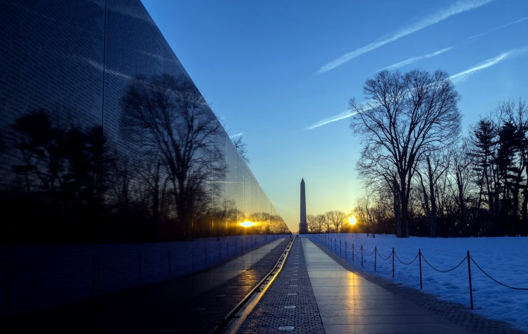 vietnam veterans memorial wall after sunrise photo getty images