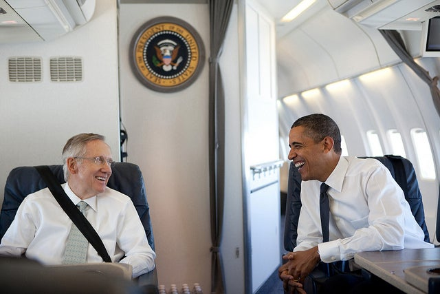 President Obama talks with Senate Majority Leader Harry Reid. Pete Souza
