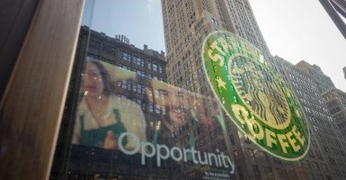 A Starbucks cafe in New York City advertises that the firm is hiring. (Photo: Richard B. Levine/Newscom)