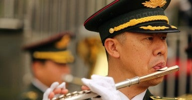 China's military band plays. (Photo: Stephen Shaver/UPI/Newscom)