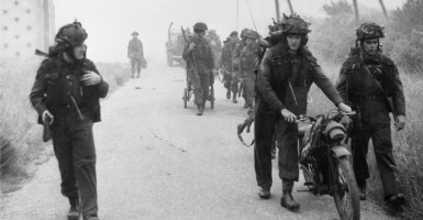 In France on June 6, 1944, Royal Marines prepare to push out of the beachhead. (Photo: Imperial War Museum/ZUMA Press/Newscom)