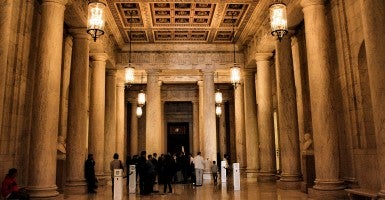 The Great Hall of the Supreme Court building, looking towards the main entrance to Court Chamber. (Photo: Phil Roeder)