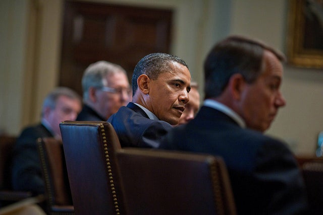 President Obama with Speaker John Boehner and Senate Minority Leader Mitch McConnell