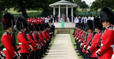 Soldiers stand on parade at a Magna Carta 800th anniversary commemoration event in Runnymede, United Kingdom. (Photo: Photoshot/Newscom)