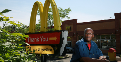 Douglas Hunter, 53, outside the McDonald's where he works. Hunter is an advocate for the Fight for $15, a campaign to increase minimum wage for fast-food workers. (Photo: John J. Kim/TNS/Newscom)