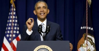 President Obama speaking on the fifth anniversary of Obamacare. (Photo: Jonathan Ernst/Reuters/Newscom)