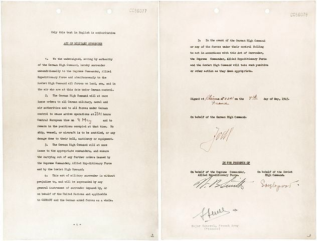 This instrument of surrender was signed on May 7, 1945, at Gen. Dwight D. Eisenhower's headquarters in Rheims by Gen. Alfred Jodl, Chief of Staff of the German Army. At the same time, he signed three other surrender documents, one each for Great Britain, Russia, and France. (Photo: Office of War Information/Licensed under Public Domain)