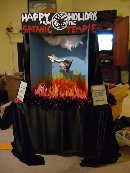 The full Satanic Temple display. (Photo: The Tallahassee Democrat)