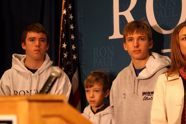 "William, 21; Duncan, 18; and Robert, 15 at a ""whistle stop"" tour in Des Moines, Iowa in 2012. (Photo: Gage Skidmore)"