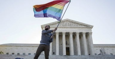 In front of the Supreme Court. (Photo: Joshua Roberts/Reuters/Newscom)