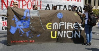 The banner was held in a Greek march against austerity. (Photo: Michael Debets/ZUMA Press/Newscom)