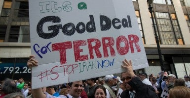 A rally in New York attracted opponents of the Iran deal. (Photo: Allan Tannenbaum/Polaris/Newscom)