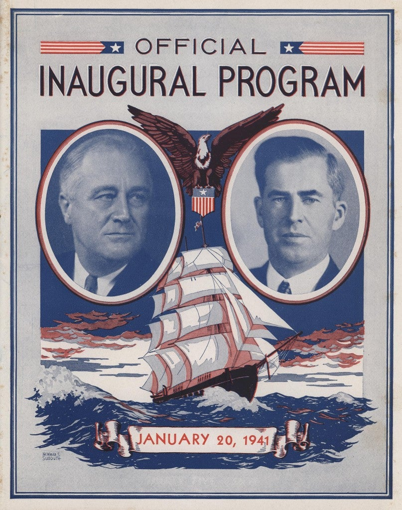 The cover of the official program of the ceremonies for the third inauguration of Franklin D. Roosevelt and Henry A. Wallace. (Photo: Marine Corps Archives & Special Collections)