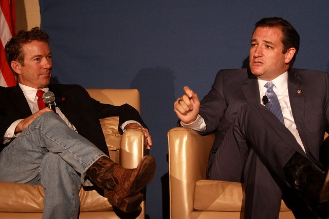 Senators (and presidential candidates) Rand Paul and Ted Cruz speak at a 2013 Young Americans for Liberty National Convention. Soon they'll speak with each other in presidential debates. (Photo: Gage Skidmore)
