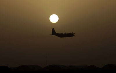 Air Force plane flies over Iraq