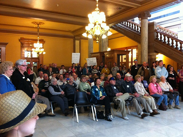Common Core opponents at Indiana State House, April 25, 2013. Photo credit: Jackie Rhoton