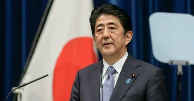 Japanese Prime Minister Shinzo Abe announces a statement to mark the 70th anniversary of the end of World War Two during a news conference at the prime minister's official residence in Tokyo, Japan, 14 August 2015 (Photo: KIMIMASA MAYAMA/EPA/Newscom)