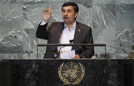 Iran's President Mahmoud Ahmadinejad addresses the 66th United Nations General Assembly at the U.N. headquarters in New York, September 22, 2011. REUTERS/Shannon Stapleton