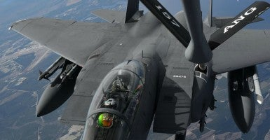 A U.S. Air Force B-52 Stratofortress leads a formation of aircraft including two Polish air force F-16 Fighting Falcons, four U.S. Air Force F-16 Fighting Falcons, two German Eurofighter Typhoons, and four Swedish Gripens over the Baltic Sea, June 9, 2016. The formation was captured from a KC-135 from the 434th Air Refueling Wing, Grissom Air Force Base, Indiana, as part of exercise BALTOPS 2016. (Photo: U.S. Air Force photo/Senior Airman Erin Babis)