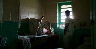 Inmates at St. Clair Correctional Facility, a maximum security prison in Springville, Ala., are used to waiting. Most confined here were convicted of violent crimes. (Photo: Bob Miller for The Daily Signal)