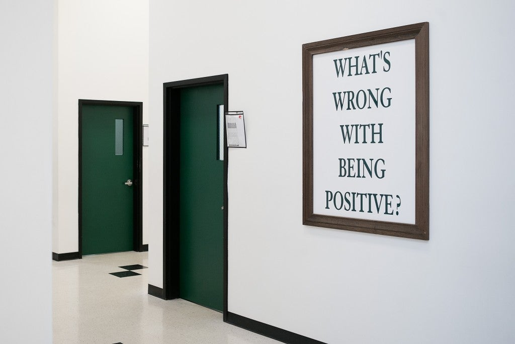 Positive messaging adorns the walls of every corridor at the Alabama Therapeutic Education Facility, a prison intended for people in the final stages of a sentence. (Photo: Bob Miller for The Daily Signal)