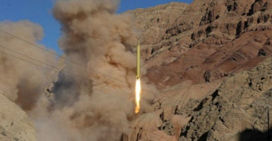 A ballistic missile is launched and tested in an undisclosed location, Iran, Mar. 9, 2016. (Photo: Tima/Reuters/Newscom)