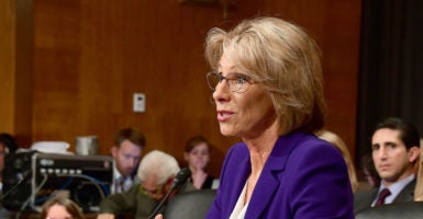 Betsy DeVos appears before the Senate Committee on Health, Education, Labor and Pensions during her confirmation hearing to become the secretary of education. (Photo: Ron Sachs/SIPA/Newscom)