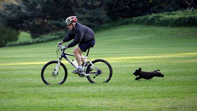 George W. Bush riding bike with Mrs. Beazley chasing
